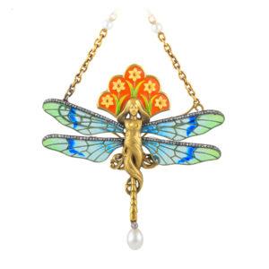 Rare Art Nouveau Dragonfly Woman Pendant