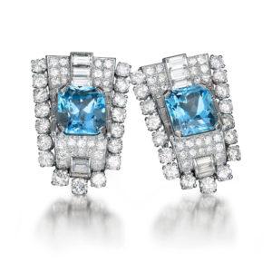 Superb Art Deco Aquamarine Diamond Clips