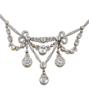 Belle Epoche Platinum Diamond Convertible Necklace