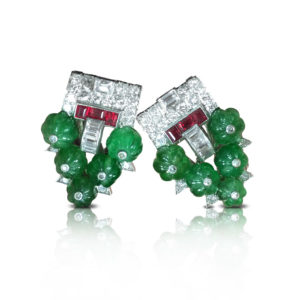 Cartier Art Deco Carved Emerald and Ruby Clips