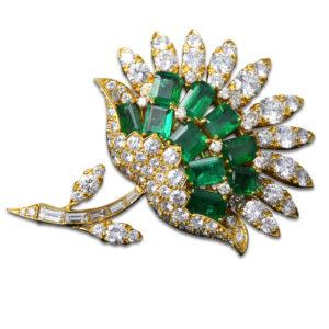 Van Cleef & Arpels Emerald Diamond Brooch